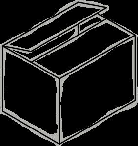 Skizze eines Kartons, welche ein bisschen geöffnet ist