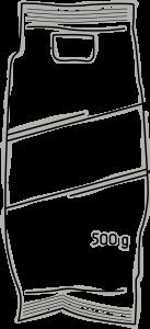 Skizze einer Serviceverpackung - Aufschrift ist 500g