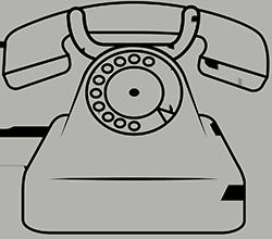 Skizze eines alten Telefons mit Wählscheibe