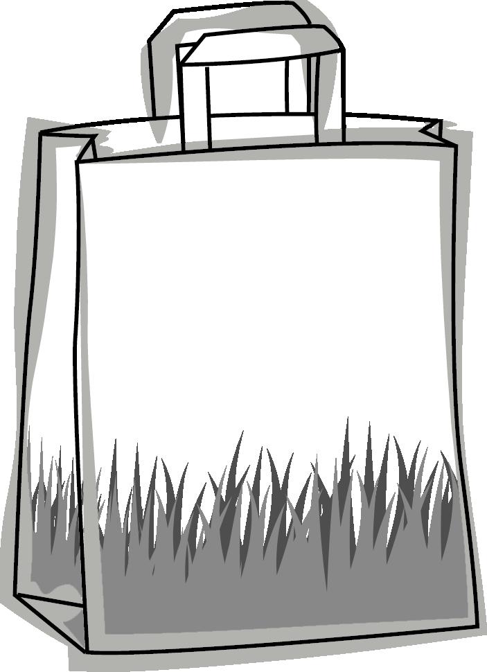 Skizze einer Papier Tasche mit Flachgriff aus Gras - Am Boden der Tasche sind Grashalme abgebildet