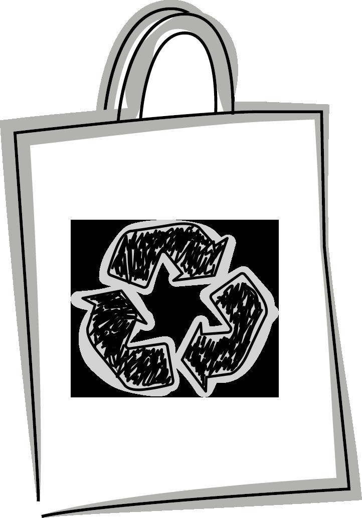 Skizze einer Tasche mit dem Recyclat (Recycling) Logo drauf (PET Tasche)