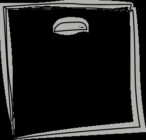 Skizze einer Tasche mit Griffkerbe