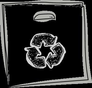 Skizze einer Tasche mit dem Recyclat (Recycling) Logo drauf