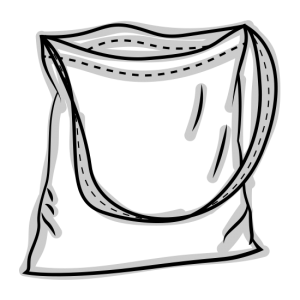 Skizze einer Baumwolltragetasche mit großem Kordel Band