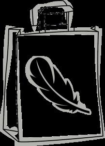 Skizze einer nachhaltigen Tragetasche. Tasche hat eine geflochtene Kordel und ein Weizen Strang abgebildet