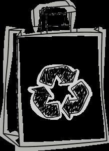Skizze einer Recyclat-Papier-Tasche mit Recycling Logo drauf