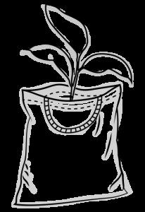 Skizze einer Tasche mit geflochtener Kordel und einem Strang mit 3 Blättern, der rauswächst - Tragetasche aus nachhaltiger Forstwirtschaft
