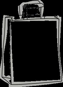 Skizze einer Recyclat Papier Tasche mit dem Blauer Engel Logo - Jury Umweltgestz