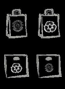 4 Skizzen von verschiedenen Taschen mit Recycling Zeichen oder Blauer Engel Logo - Umweltfreundliche Taschen